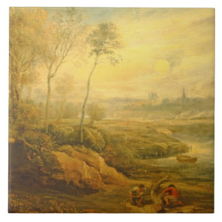 Landskap med en Birdcatcher (olja på panel) Kakelplatta