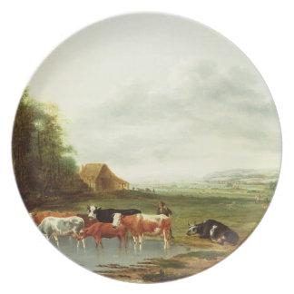Landskap med en Herdsman och ett nötkreatur (olja  Tallrik