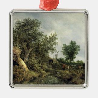 Landskap med en koja, 1646 julgransprydnad metall