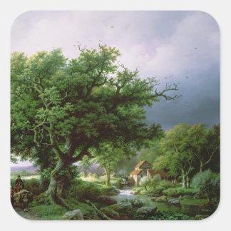 Landskap med en mala fyrkantigt klistermärke