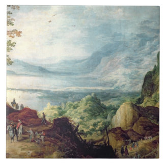 Landskap med havet och berg (olja på kanfas) kakelplatta