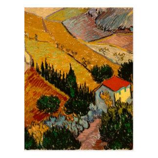 Landskap med huset & ploughmanen, Vincent Van Gogh Vykort