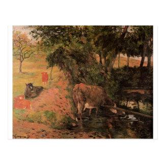Landskap med kor i en fruktträdgård av Paul Vykort