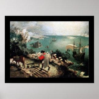 Landskap med nedgången av Icarus - 1558 Poster