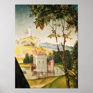 Landskap med slottet i en vallgrav och två svanar poster
