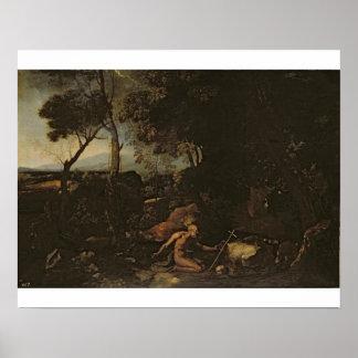 Landskap med St Jerome Affischer