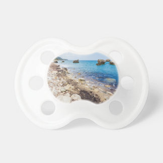 Landskap med stenblock och stenar på kusten napp