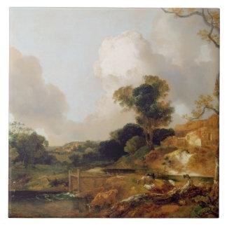 Landskap med strömmer och weiren (olja på kanfas) kakelplatta