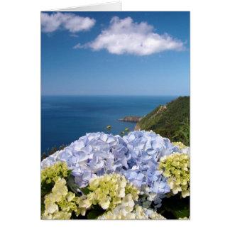 Landskap med vanlig hortensia hälsningskort