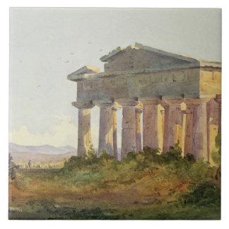 Landskap på Paestum (w/c på papper) Kakelplatta