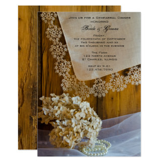 Landsnöre blommar ladugårdbrölloprepetition middag 12,7 x 17,8 cm inbjudningskort