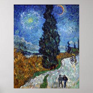 Landväg i Provence vid natt Poster