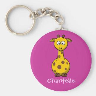 Lång giraff rund nyckelring