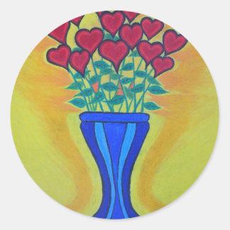 Lång-stemmed hjärtor i blåttvas runt klistermärke