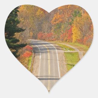 Lång väg för skog hjärtformat klistermärke