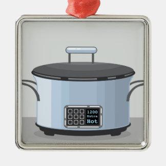 Långsam vektor för matlagningbilskrällekruka silverfärgad fyrkantigt julgransprydnad