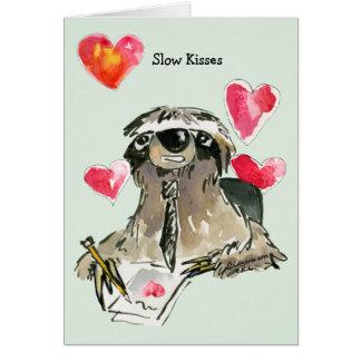 Långsamt kort för Sloth för kysskärlektecknad