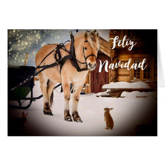 Lantgård för Feliz Navidad julnatt med hästen OBS Kort