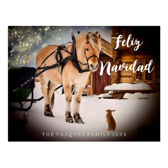 Lantgård för Feliz Navidad julnatt med hästen Vykort