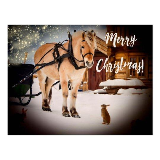 Lantgård för starry natt för god jul med hästsnö vykort