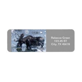 Lantlig älg för tjur för returadress etikett