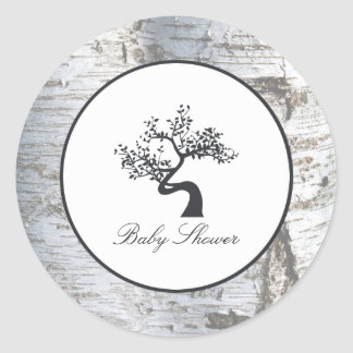 Lantlig baby shower för silverbjörkträd runt klistermärke
