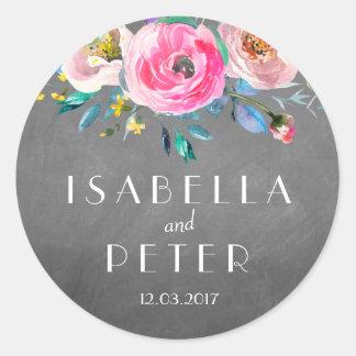 Lantlig blom- bröllopklistermärke för modern svart runt klistermärke
