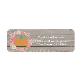 Lantlig blom- returadressetikett för rosa pumpa returadress etikett