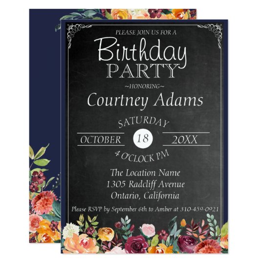 Lantlig blom- svart tavlafödelsedaginbjudan 12,7 x 17,8 cm inbjudningskort