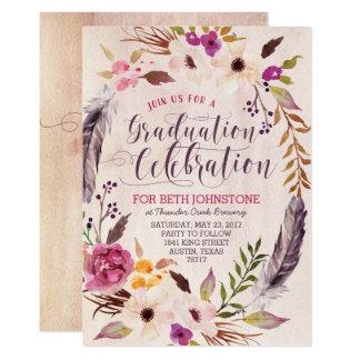 Lantlig Boho blom- kranstudentkort 12,7 X 17,8 Cm Inbjudningskort