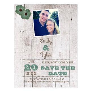 Lantlig bröllop spara datum för vykort