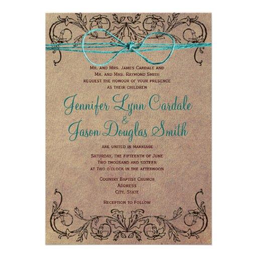 Lantlig bröllopsinbjudningar för kricka för landvi anpassade inbjudan