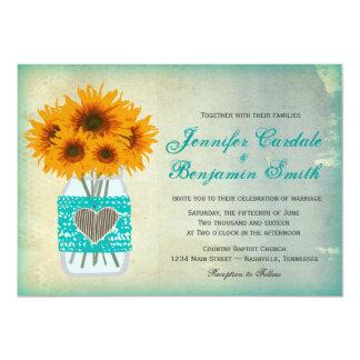 Lantlig bröllopsinbjudningar för solros för 12,7 x 17,8 cm inbjudningskort
