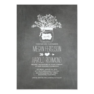 Lantlig bröllopsinbjudningar för svart 12,7 x 17,8 cm inbjudningskort