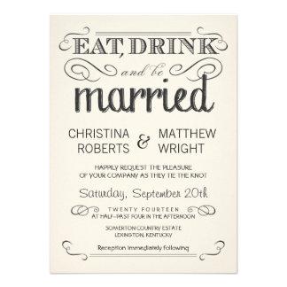 Lantlig bröllopsinbjudningar för typografikrämParc