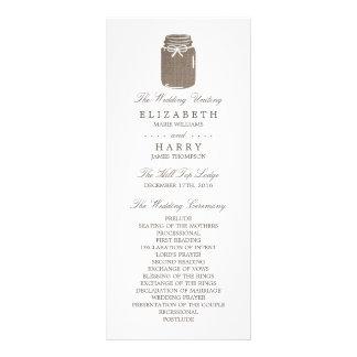 Lantlig bröllopsprogram för BurlapMasonburk Reklamkort