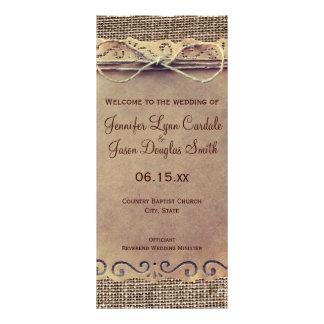 Lantlig bröllopsprogram för landvintageBurlap Reklamkort