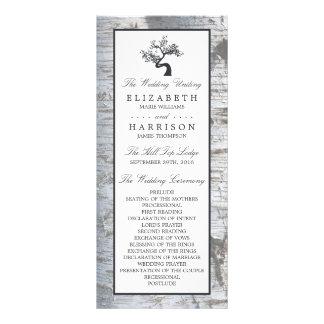 Lantlig bröllopsprogram för silverbjörkträd reklamkort