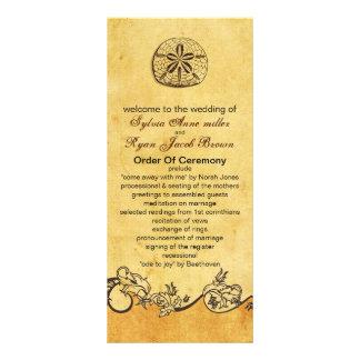 lantlig bröllopsprogram för strand för sanddollar reklamkort