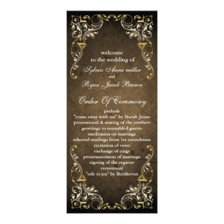 lantlig brun regal bröllopsprogram anpassade ställkort