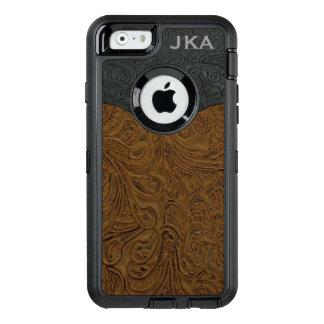 Lantlig brunt bearbetad läderpersonlig OtterBox defender iPhone skal