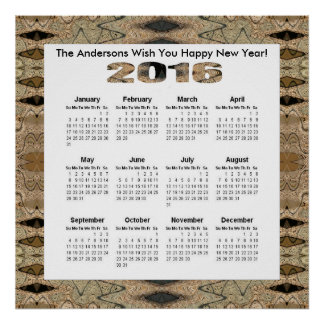 Lantlig bruntsvart 2016 årliga kalender poster