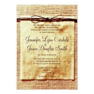 Lantlig Burlap tvinnar bekymrad bröllopinbjudan 12,7 X 17,8 Cm Inbjudningskort
