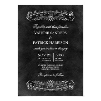 Lantlig chic bröllopinbjudan - svart 12,7 x 17,8 cm inbjudningskort