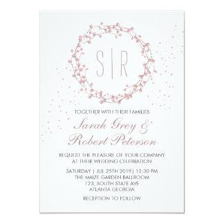 Lantlig dammig rosa blom- kranbröllopinbjudan 12,7 x 17,8 cm inbjudningskort