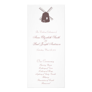 Lantlig elegant kvarnbröllopsprogram reklamkort