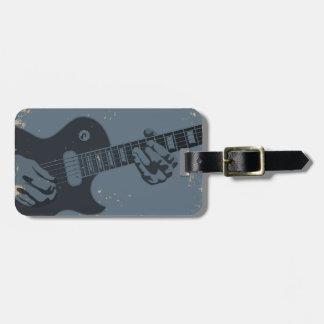 Lantlig gitarrspelare för blått & för svart bagagebricka