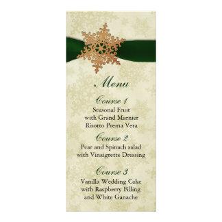 lantlig grön meny för snöflingorvinterbröllop