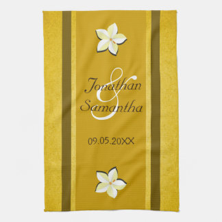 Lantlig guld- blom- handduk för Tea för MoJo Kökshandduk
