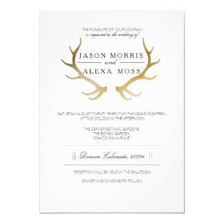 Lantlig guld- elegant bröllop för horn på 12,7 x 17,8 cm inbjudningskort